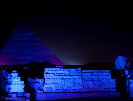Sound and Light Show at the Pyramids from Cairo