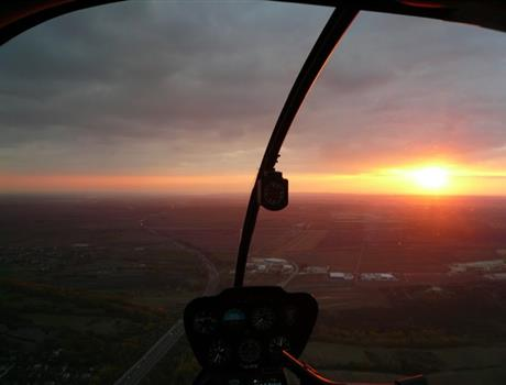 Sunset Flight over Budapest by a Private Helicopter