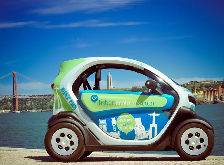 Lisbon Ride in an Electric Car with GPS Audio Guide