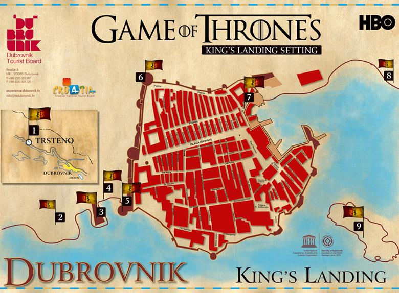 Game of thrones filming locations flyer front side
