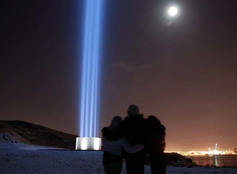 Imagine Peace Tower on the Viðey Island from Reykjavik