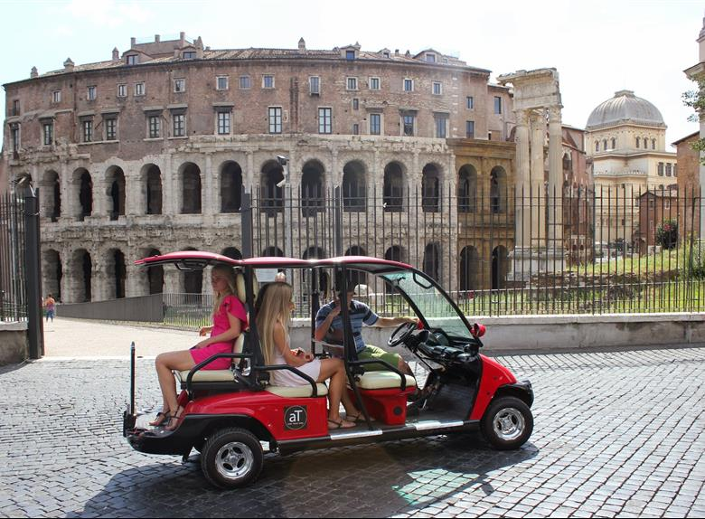 Explore Rome using a golf cart